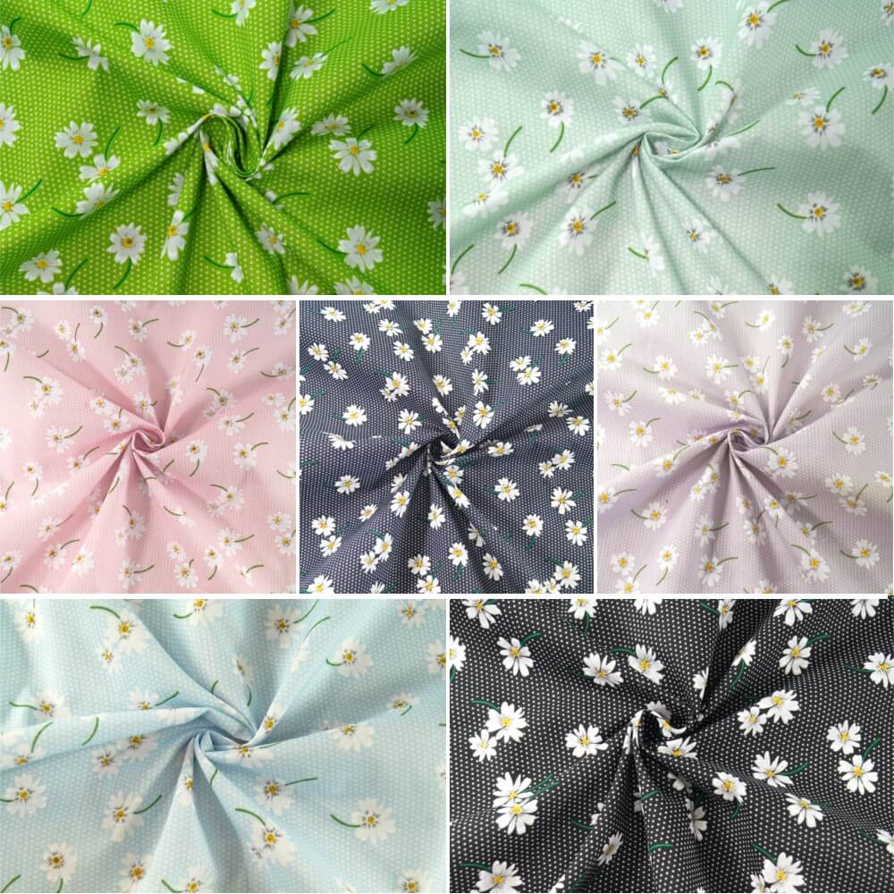 Polycotton Fabric Polka Dot Daisies Flowers Floral Spots Dots