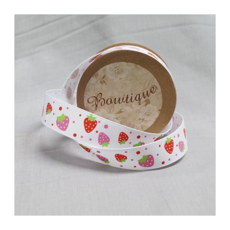 Pink Bowtique Grosgrain Strawberry Spots Ribbon 20mm x 5m Reel