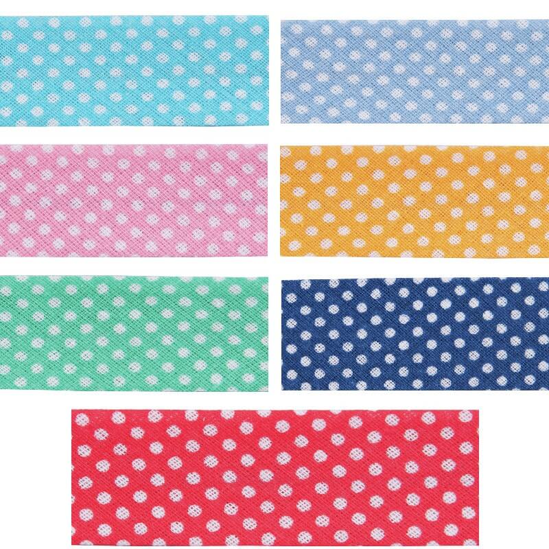Turquoise 20mm Polka Dots Cotton Bias Binding
