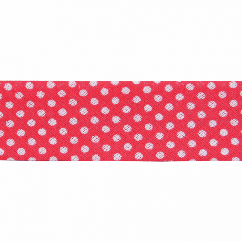 Red 20mm Polka Dots Cotton Bias Binding