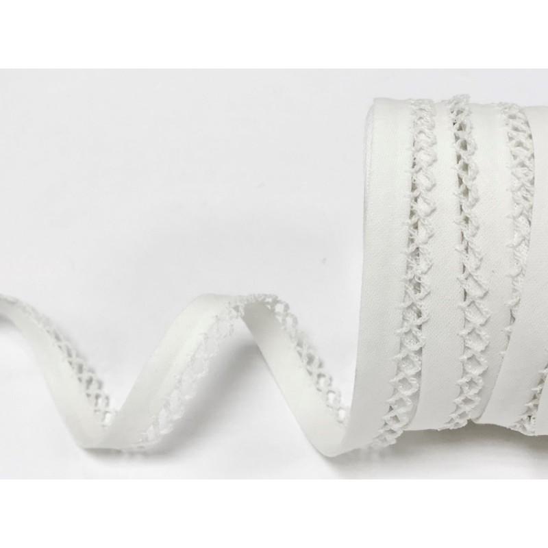 White 12mm Fany Lace Edge Plain Double Fold Bias Binding
