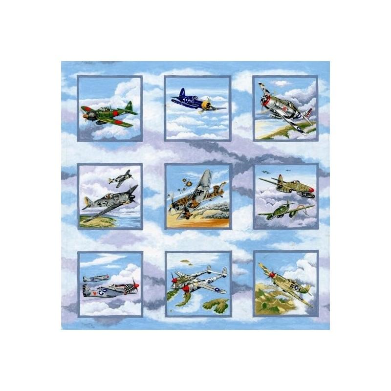 100% Cotton Fabric Nutex Warbirds World War II Planes Spitfire Airplanes