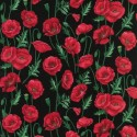 Stems Black 100% Cotton Fabric Nutex Poppies Poppy Floral Flowers Collection