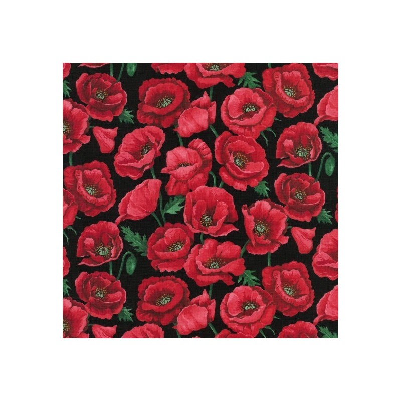 Blossom Black 100% Cotton Fabric Nutex Poppies Poppy Floral Flowers Collection