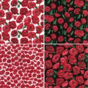 100% Cotton Fabric Nutex Poppies Poppy Floral Flowers Collection