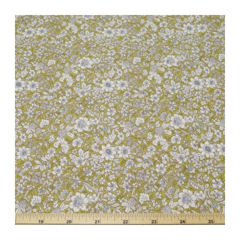 Green 100% Cotton Poplin Fabric Rose & Hubble Floral Ditsy Petal Flowers