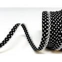 Black/White 12mm Fany Lace Edge Polka Dots Double Fold Bias Binding Trim Picot Crochet
