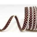 Chocolate Brown/White 12mm Fany Lace Edge Polka Dots Double Fold Bias Binding Trim Picot Crochet
