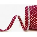 Deep Pink/White 12mm Fany Lace Edge Polka Dots Double Fold Bias Binding Trim Picot Crochet