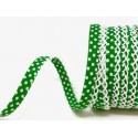 Emerald Green/White 12mm Fany Lace Edge Polka Dots Double Fold Bias Binding Trim Picot Crochet
