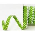 Lime Green/White 12mm Fany Lace Edge Polka Dots Double Fold Bias Binding Trim Picot Crochet