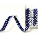 Navy/White 12mm Fany Lace Edge Polka Dots Double Fold Bias Binding Trim Picot Crochet