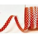 Orange/White 12mm Fany Lace Edge Polka Dots Double Fold Bias Binding Trim Picot Crochet