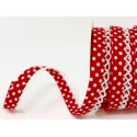Red/White 12mm Fany Lace Edge Polka Dots Double Fold Bias Binding Trim Picot Crochet