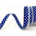Royal Blue/White 12mm Fany Lace Edge Polka Dots Double Fold Bias Binding Trim Picot Crochet