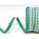 Seafoam Jade/White 12mm Fany Lace Edge Polka Dots Double Fold Bias Binding Trim Picot Crochet