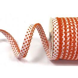 White/Orange 12mm Fany Lace Edge Polka Dots Double Fold Bias Binding Trim Picot Crochet