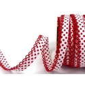 White/Red 12mm Fany Lace Edge Polka Dots Double Fold Bias Binding Trim Picot Crochet