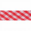 Red 15mm Gingham Bias Binding Tape