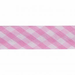 Pink 15mm Gingham Bias Binding Tape