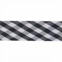 Black 15mm Gingham Bias Binding Tape