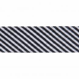 Black 20mm Stripes Cotton Bias Binding Tape