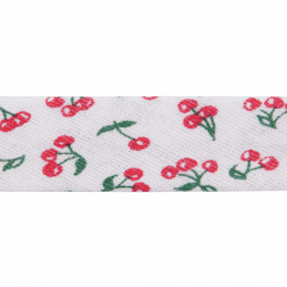 Red 20mm Cherries Cotton Bias Binding