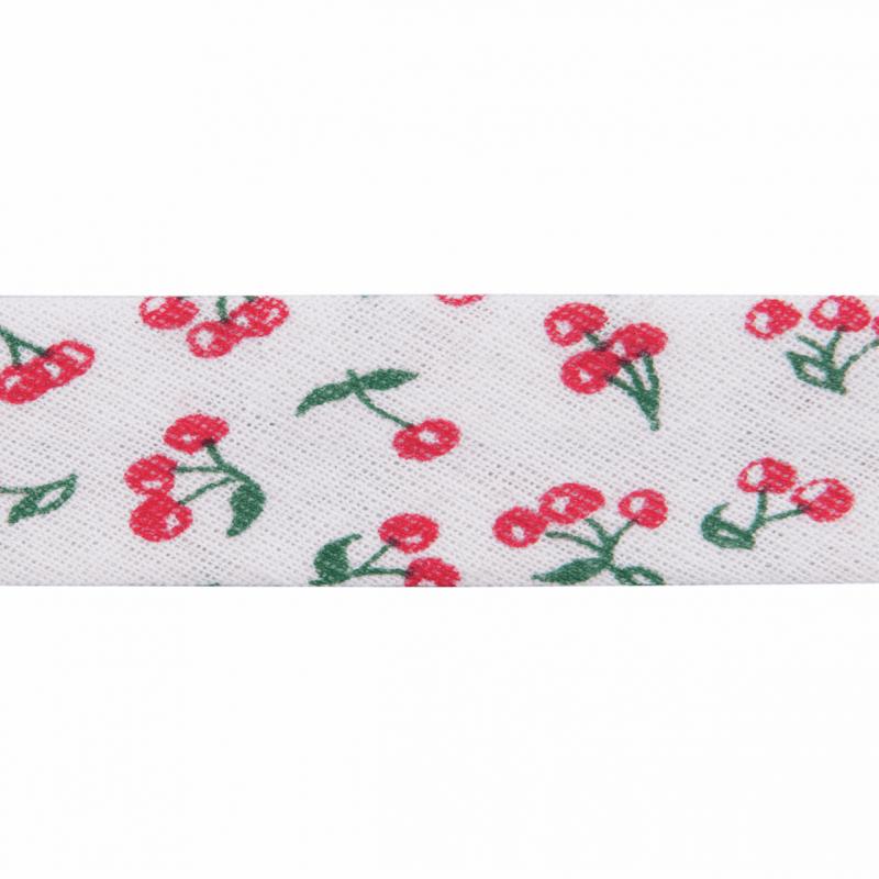 Red 20mm Cherries Cotton Bias Binding