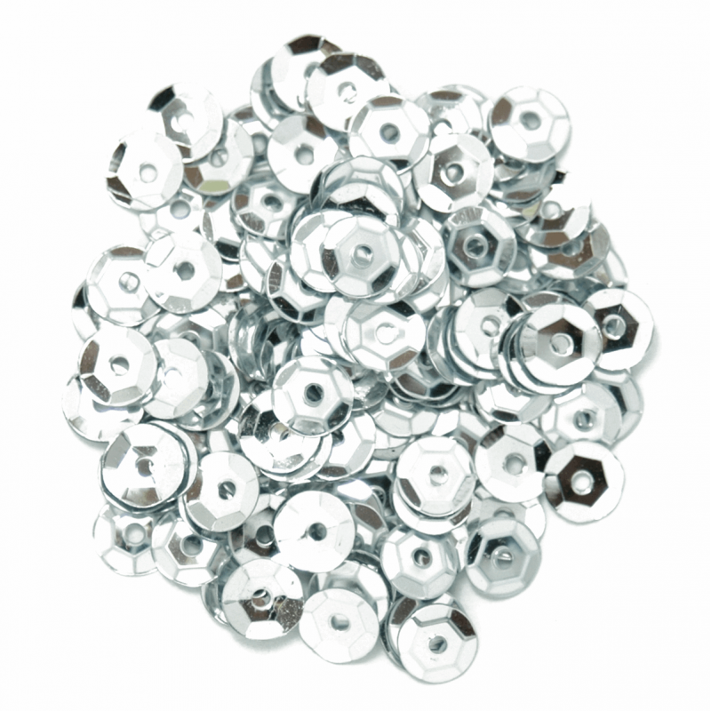Silver Cup Sequins 5mm 12 Colours