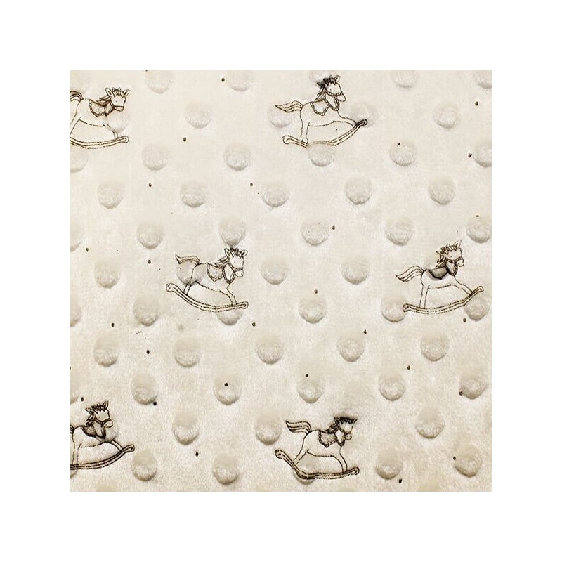 Cream Patterned Super Soft Dimple Fleece Fabric Rocking Horse