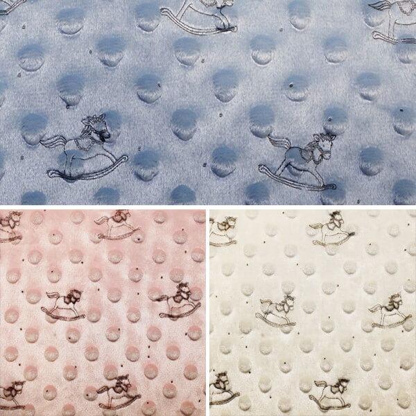 Cream Patterned Super Soft Dimple Fleece Fabric Rocking Horse