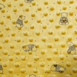 Ochre Patterned Super Soft Dimple Fleece Fabric Bear In Jumper
