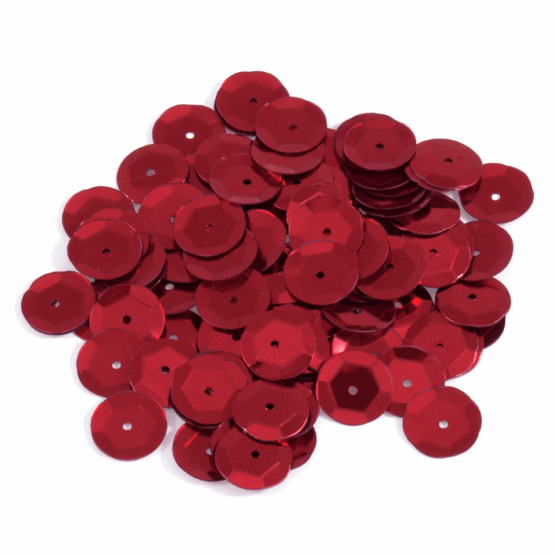 Red Tiny 10mm Shiny Craft Cup Sequins Trimits