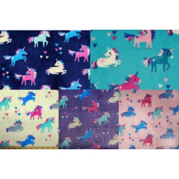 Majestic Prancing Unicorns and Floating Hearts 147cm Super Soft Cuddle Fleece