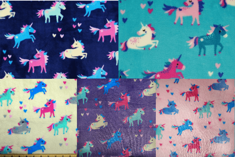 Majestic Prancing Unicorns and Floating Hearts 147cm Super Soft Cuddle Fleece Purple