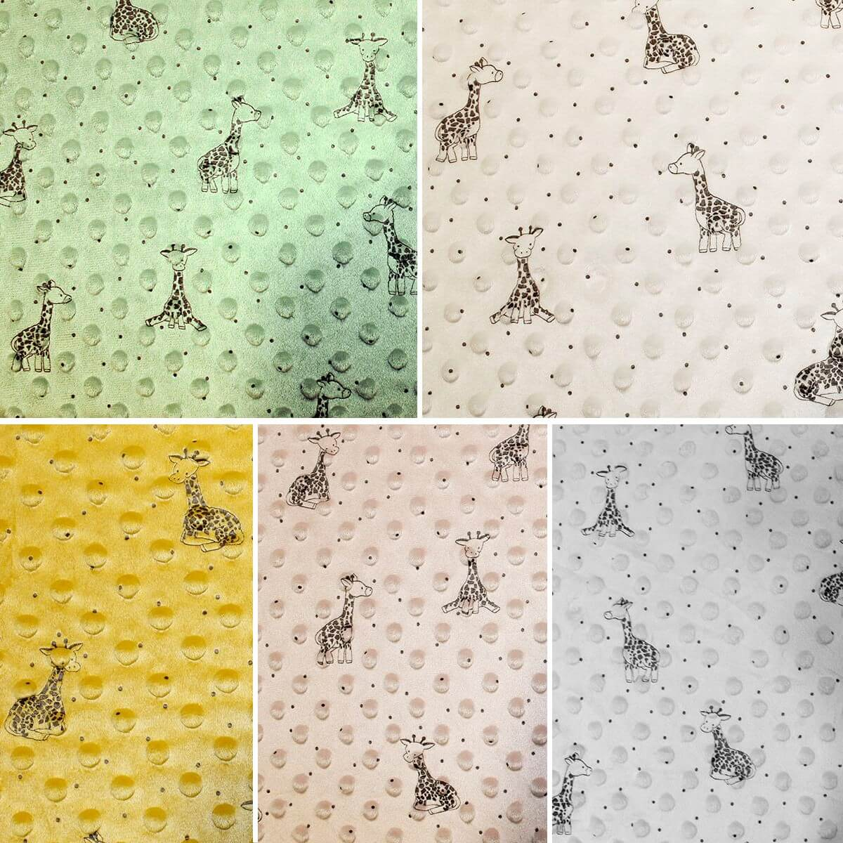 Green Patterned Super Soft Dimple Fleece Fabric Giraffes