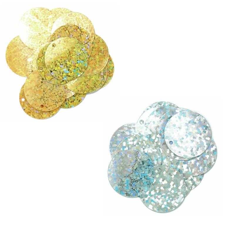Gold 20mm Sequins Round Flat Holographic Sparkles Hologram