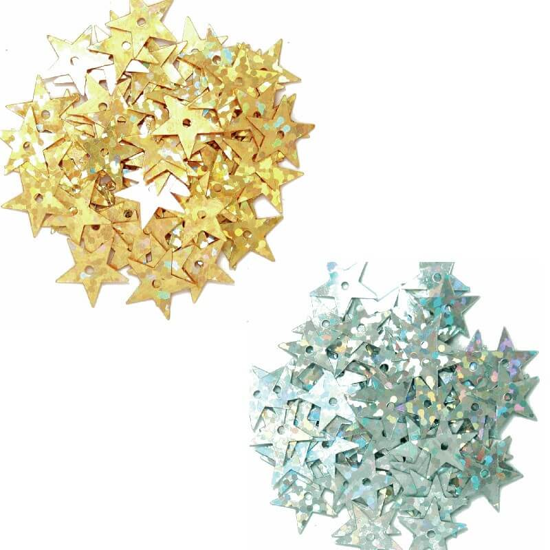Gold 10mm Sequins Hologram Stars