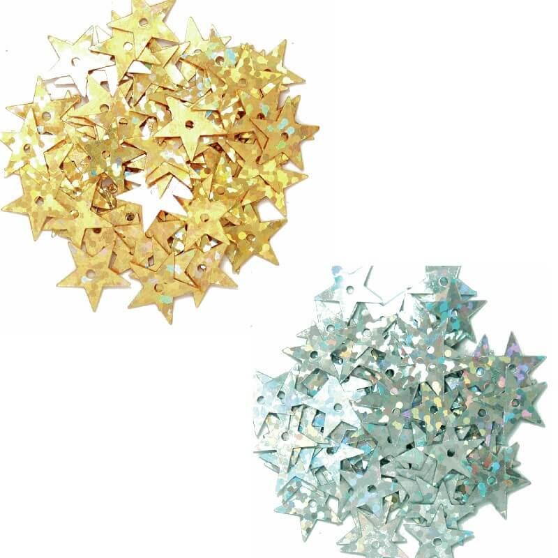Silver 10mm Sequins Hologram Stars