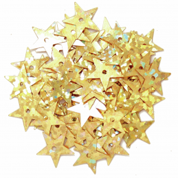 Gold 10mm Sequins Hologram Stars