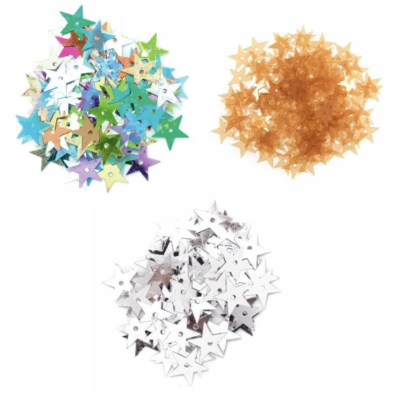 Multi Coloured 10mm Sequins Large Stars