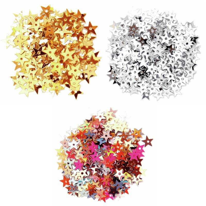 Silver Miniature Stars 5mm Gold, Silver or Multi