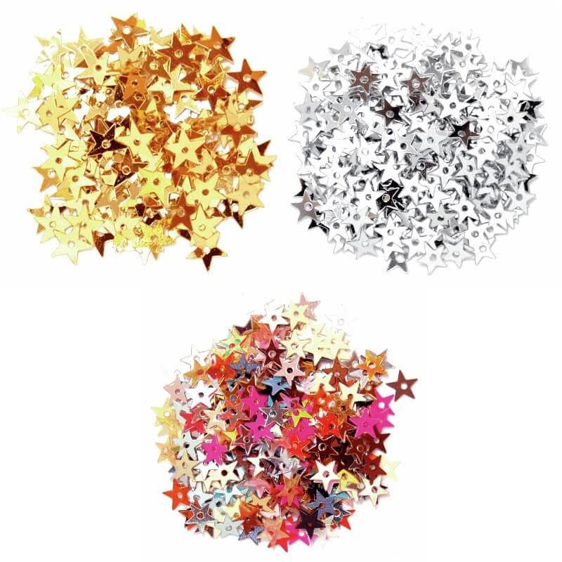 Silver Miniature Stars 5mm Gold, Silver or Multi