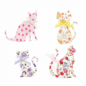 Trimits Craft For Occasions Stick On Animals Embellishments Scrap Booking Floral Cats Pack Of 4