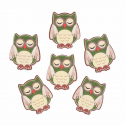 Trimits Craft For Occasions Stick On Animals Embellishments Scrap Booking Green Sleeping Owls Pack Of 6