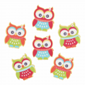 Trimits Craft For Occasions Stick On Animals Embellishments Scrap Booking Bright Owls Pack Of 6