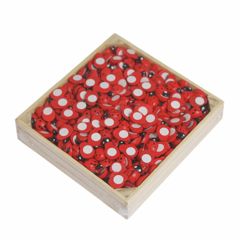 500 Ladybirds Ladybugs Wooden Crate Self Adhesive Stick On