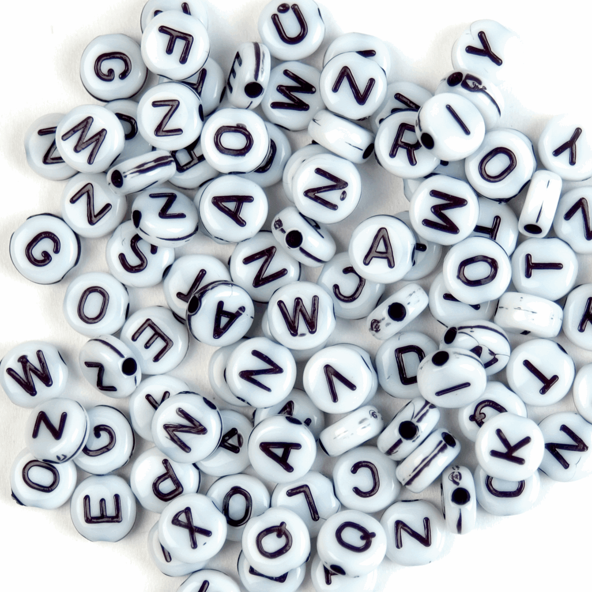Trimits Craft Factory Plastic Black and White Alphabet Beads