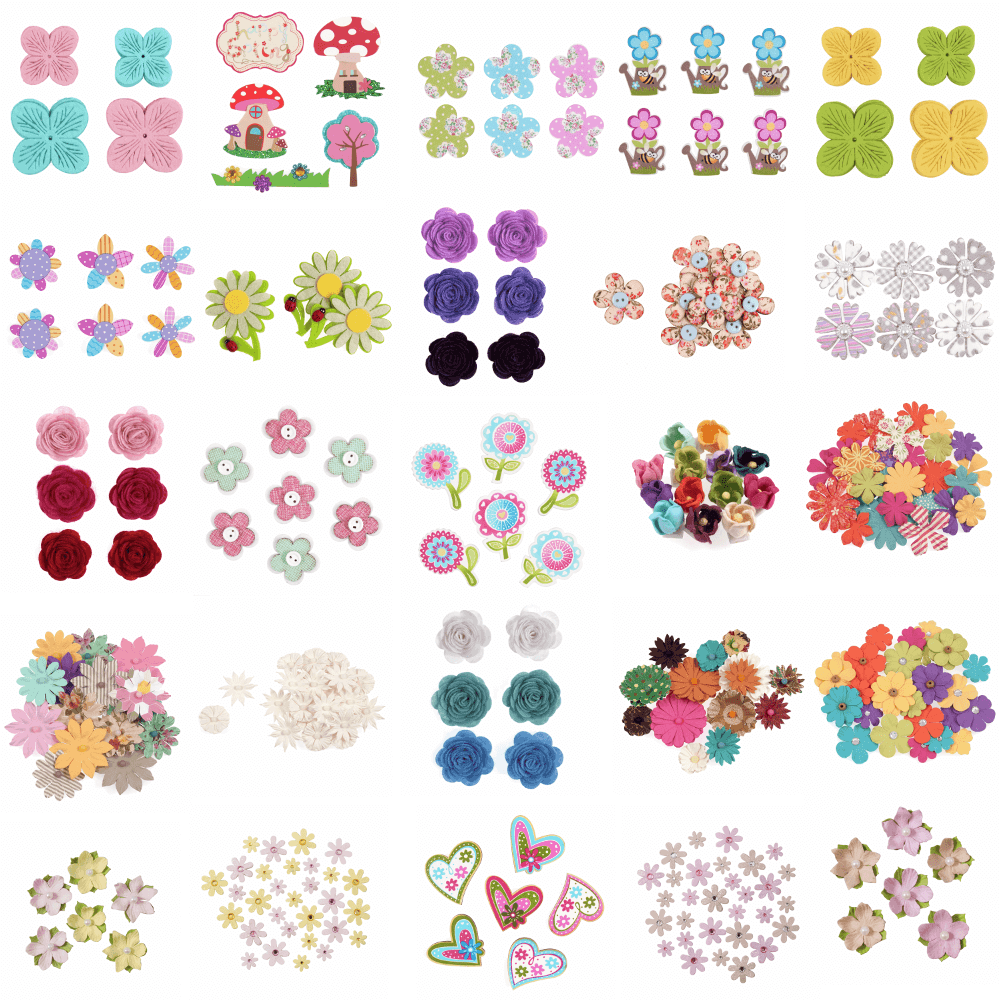Trimits Craft For Occasions Stick On Flower Embellishments Scrap Booking Floral Flowers Button Pack Of 8