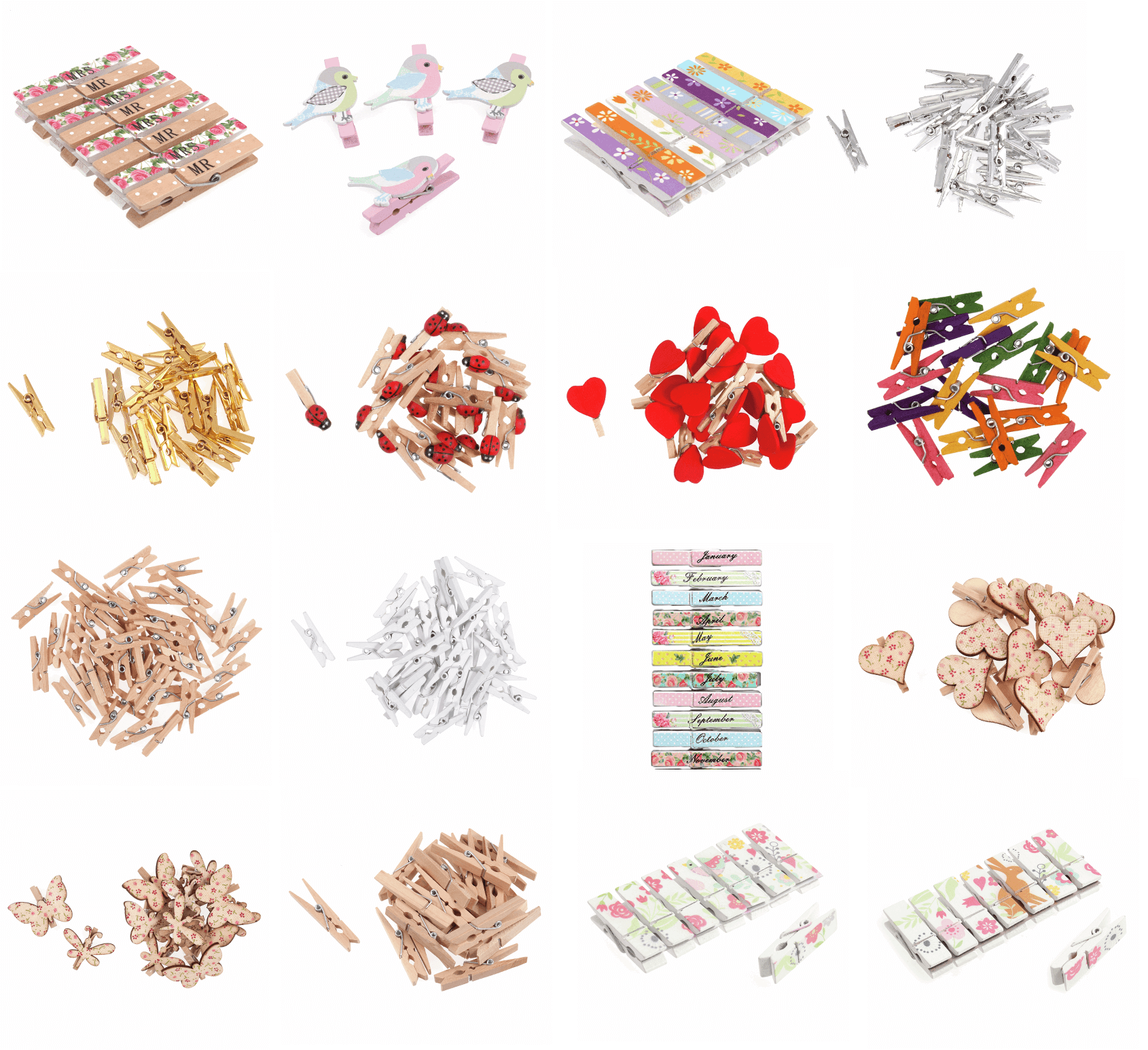 Trimits Craft For Occasions Assorted Craft Pegs Card Making Scrap Booking Medium Pegs x 20